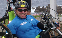 Jason Gill in his handcycle